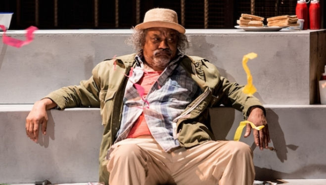 Jeffery Kissoon as Odysseus, in My Father Odysseus at the Unicorn Theatre