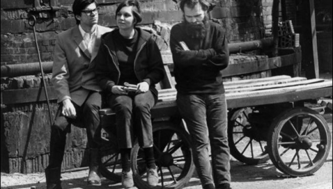 Robert Smithson, Nancy Holt, and Carl Andre, New Jersey, April 1967,Photograph: Virginia Dwan