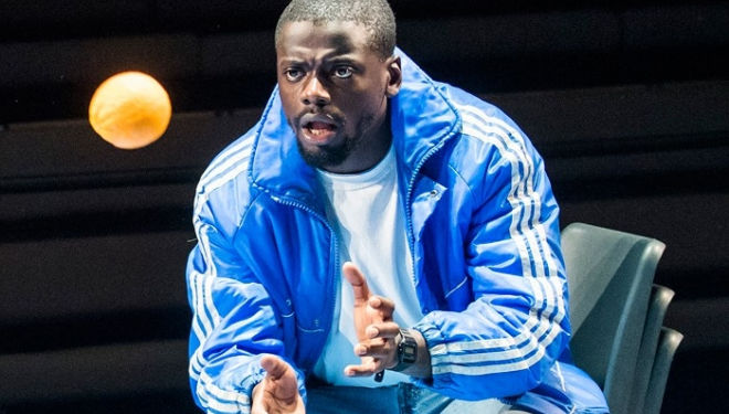 Daniel Kaluuya in Blue/Orange revival at the Young Vic. Photo by Tristram Kenton