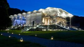 The summer opera house at Garsington rises from the gardens. Photograph: Mike Hoban