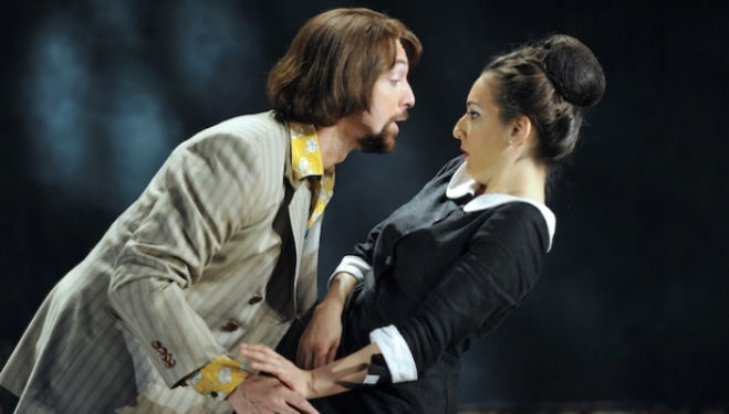 Gyula Orendt as the Count pursues Rosa Feula as Susannah in Glyndebourne's Le Nozze di Figaro. Photograph: Robbie Jack