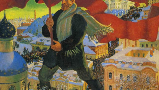 Boris Mikhailovich Kustodiev, Bolshevik (detail), 1920. Oil on canvas. 101 x 140.5 cm. State Tretyakov Gallery Photo © State Tretyakov Gallery London Russian Revolution Royal Academy