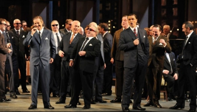 Verdi's tragic opera Rigoletto at ENO is set in gangland New York. Photograph: Chris Christodoulou