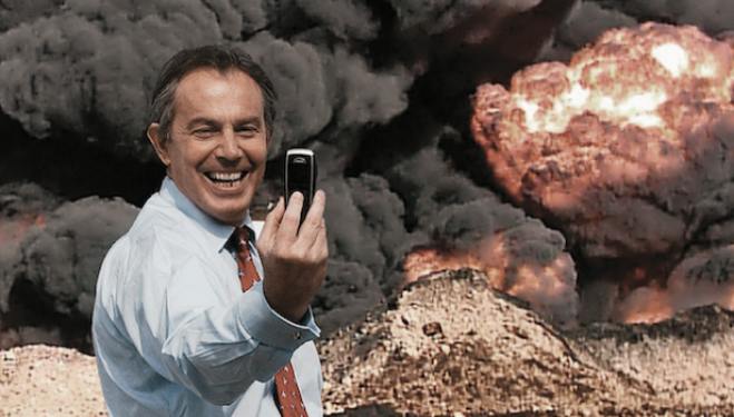Detail from the poster for The Killing$ of Tony Blair