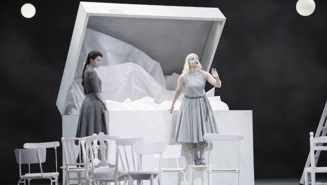 Katarina Bradié as Ursule and Sophie Karthaüser as Héro dream of a white wedding. Photograph: Richard Hubert Smith