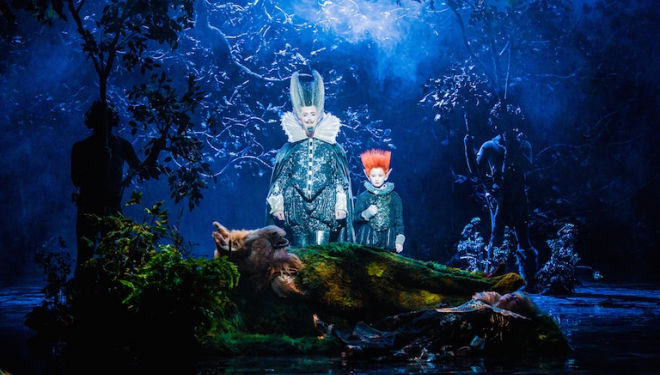 Oberon and Puck discover the sleeping Bottom and Tytania in A Midsummer Night's Dream