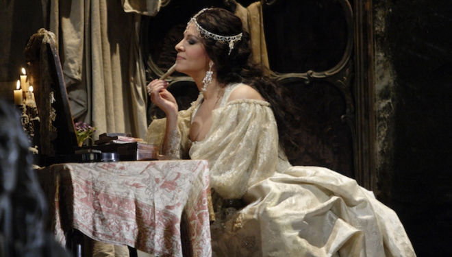 Angela Gheorghiu sings the title role in Adriana Lecouvreur. Photograph: Catherine Ashmore