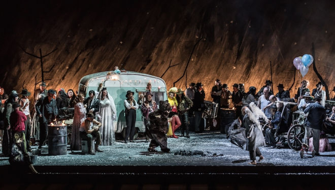 Patrick Bannwart's set for Il Trovatore creates a riotous camp. Photograph: Clive Barda