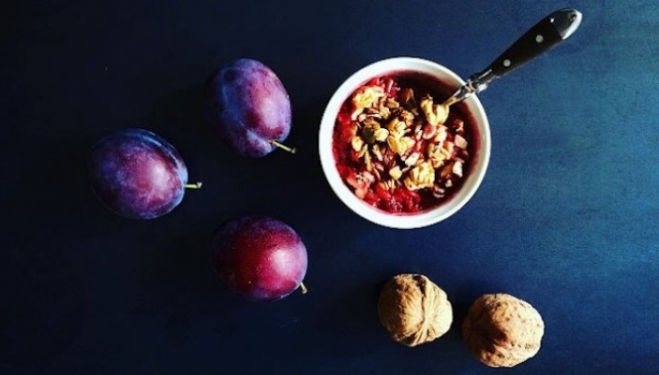 Welcome in the Autumn chill with a healthy plum crumble