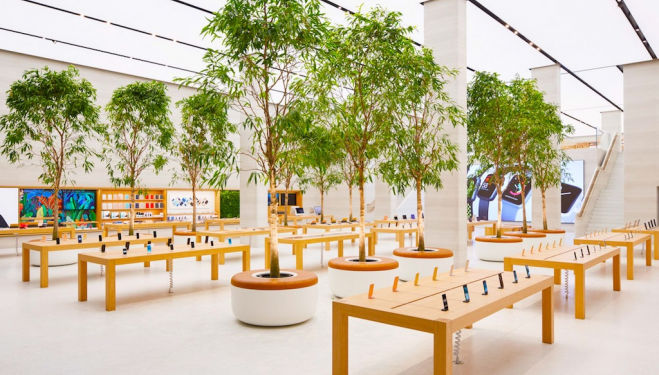 The new look Apple store has opened on Regent Street