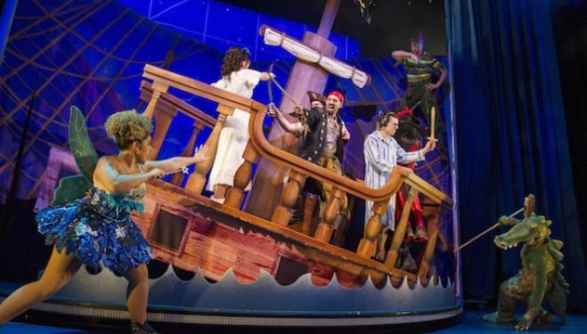 The cast of Peter Pan Goes Wrong - photo by Alastair Muir