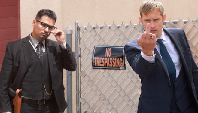 John Michael McDonagh film War on Everyone, with Alexander Skarsgärd and Michael Peña