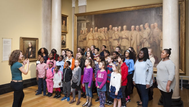Memorial Ground will be sung by the Portrait Choir, joined by the Pembroke Academy of Music Community Choir, here rehearsing at the National Portrait Gallery