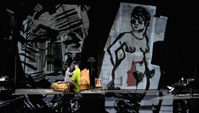 Brenda Rae in the title role and James Morris as Dr Schön in Lulu, designed and directed by William Kentridge. Photograph: Catherine Ashmore