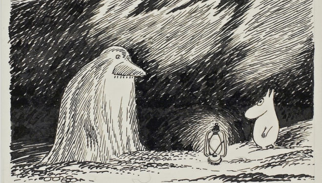 Tove Jansson, The Groke from 'Moomin Papa at Sea', 1965 Southbank Centre Nordic Matters Scandi Festival London