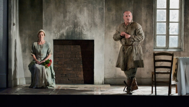 Barbara Hannigan and Christopher Purves recreate their roles as Agnès and Protector in Written on Skin at Covent Garden. Photograph: Stephen Cummiskey