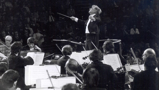Leonard Bernstein was an inspiring conductor and composer. Photograph: LSO archive