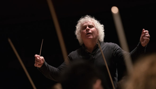 Sir Simon Rattle conducts the second of the three Half Six Fix concerts at the Barbican, 21 Dec. Photograph: Hugh Glendinning