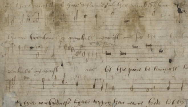 Manuscript of Katherine Parr's song was lost until 1978. Photograph: DIAMM.ac.uk