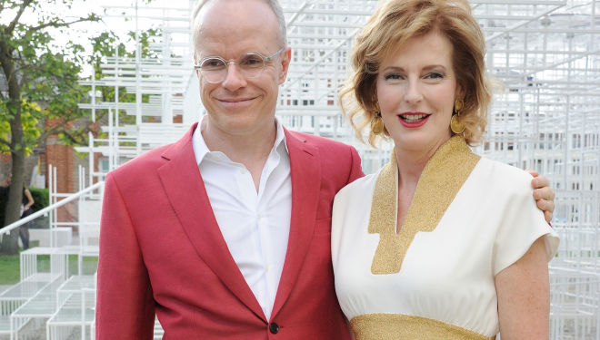 Hans Ulrich Obrist (in flamboyant Brioni suit) with Serpentine co-director Julia Peyton-Jones