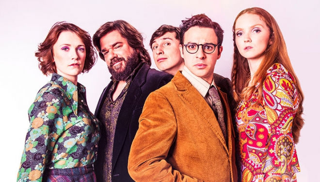 Trafalgar Studio: The Philanthropist play: Lily Cole, Simon Bird, Charlotte Ritchie, Tom Rosenthal, Matt Berry