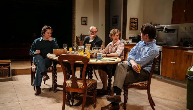 Steve Waters' Limehouse, Donmar Warehouse 2017: Paul Chahidi (Bill Rodgers), Roger Allam (Roy Jenkins), Debra Gillett (Shirley Williams) and Tom Goodman-Hill (David Owen) in Limehouse. Photo Jack Sain
