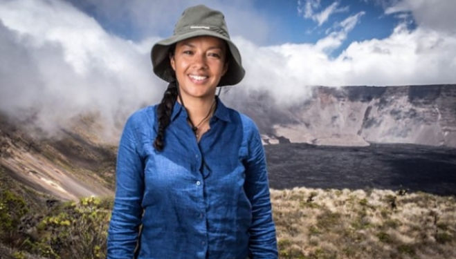 Wild animal biologist Liz Bonnin on Wolf volcano, Galapagos. Photo: BBC