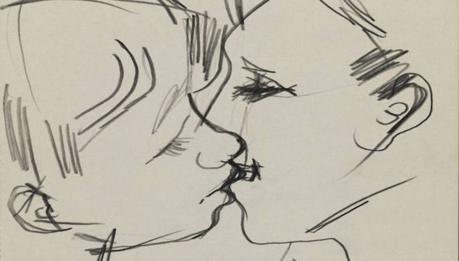 Detail: Drawing of two men kissing (1958–73), Keith Vaughan. © DACS, The Estate of Keith Vaughan