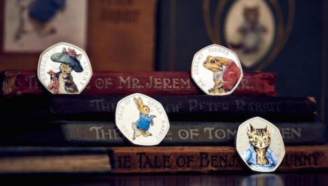 The Royal Mint unveils its 2017 Beatrix Potter limited edition commemorative coins, featuring Peter Rabbit, Benjamin Bunny, Tom Kitten and Jeremy Fisher. Royal Mint