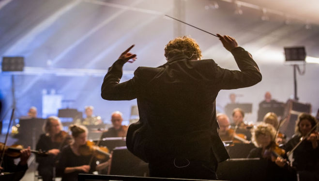 Thomas Søndergård conducting the National Orchestra of Wales. Photo: Guy Levy BBC