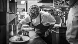 Monica Galetti at work in the kitchen at Mere