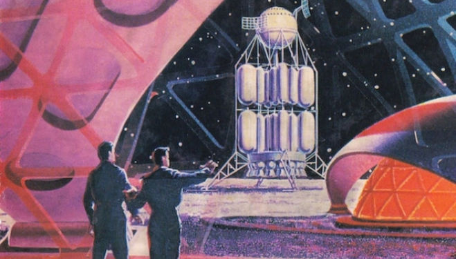 Soviet vision, 1968, of a Moon base. Image: Moscow Design Museum