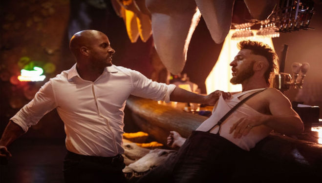 Ricky Whittle (Shadow Moon) and Pablo Schreiber (Mad Sweeney), 'American Gods'