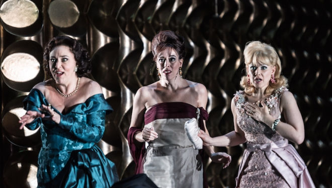 Christine Rice, Audrey Luna and Sally Matthews, modern-day witches in The Exterminating Angel. Photo: Clive Barda