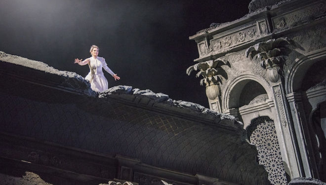 Hipermestra surveys the ruins of her city in Cavalli's opera. Photo: Tristram Kenton