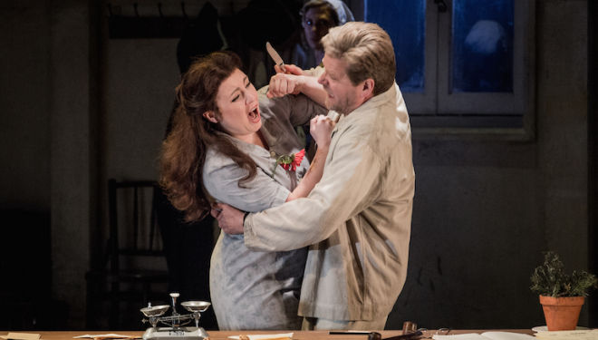 Natalya Romaniw's Jenufa is overpowered by Peter Hoare's jealous Laca. Photo: Robert Workman