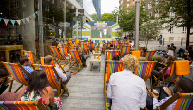 Outdoor screen at the Refinery Bankside