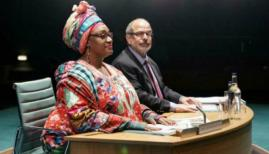 Camila Batmanghelidjh (Sandra Marvin) and Alan Yentob (Omar Ebrahim) in 'Committee ... (New Musical)' at the Donmar Warehouse. Photo by Manuel Harlan