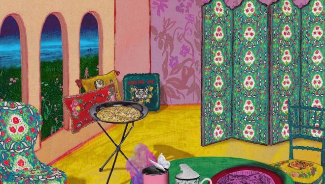 Gucci launches Gucci Decor, with artist's impressions by Alex Merry