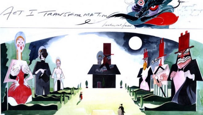 English National Opera's Orpheus in the Underworld Act 1 transformation (c) Gerald Scarfe