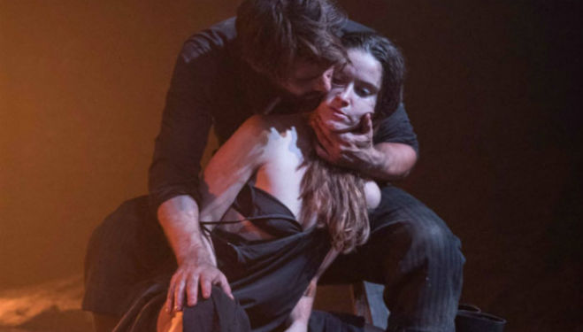 Christian Cooke as Pony William and Judith Roddy Young Woman: Knives in Hens, Donmar Warehouse
