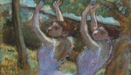 Edgar Degas (1834–1917), Female Dancers in Violet Skirts, their Arms Raised, c.1896–8, pastel with chalk, gouache and charcoal on tracing paper, 922 x 530 mm, © The Fitzwilliam Museum, Cambridge
