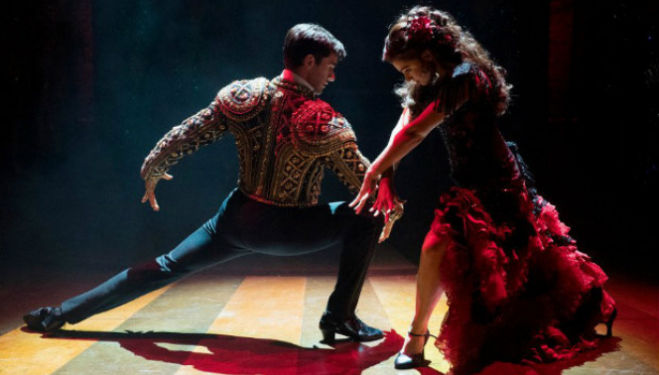 Sam Lips as Scott Hastings and Gemma Sutton as Fran in Strictly Ballroom The Musical, transferring to London