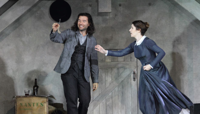 Michael Fabiano as Rodolfo teases Mimì (Nicole Car) in La Bohème. Photo: Catherine Ashmore