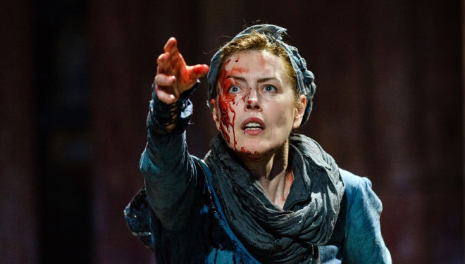 Gina McKee in Boudica at Shakespeare's Globe, London. Photograph: Steve Tanner