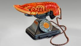 Salvador Dalí with the collaboration of Edward James, Lobster Telephone, 1938,Telephone, steel, plaster, rubber, resin and paper, 18 x 30.5 x 12.5 cm West Dean College, part of Edward James Foundation © Salvador Dalí, Fundació Gala-Salvador
