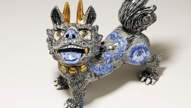 Guardian lion-dogs By Matsumoto Satoru and Komatsu Miwa Arita, Japan, 2015 Lion-dogs guard people, homes, temples and shrines in Japan, frightening away bad spirits. © the Trustees of the British Museum