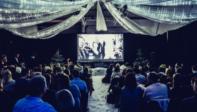 Snuggle up to your favourite films in the snow: Pop up Screens at the Hackney Showroom