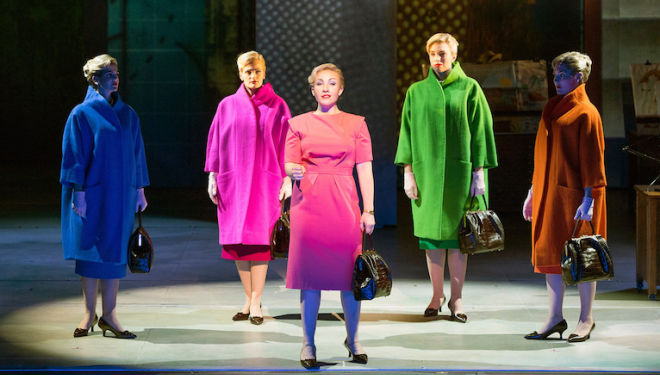 Sasha Cooke (centre) as Marnie, and her 'shadows', at English National Opera. Photo: Richard Hubert Smith