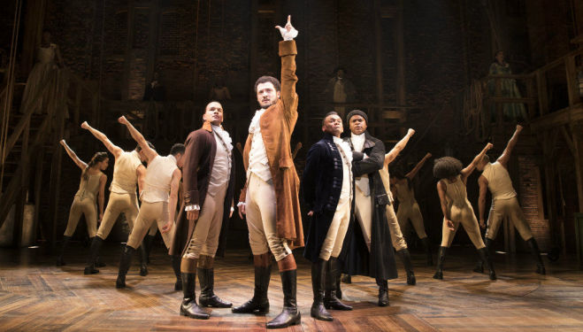 Hamilton in London: Cleve September (Laurens), Jamael Westman ( Hamilton), Jason Pennycooke (Lafayette) & Tarinn Callender (Mulligan) - Photo by Matthew Murphy